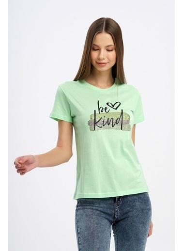 Nismia Yazılı Taş Detaylı Tshirt Yeşil